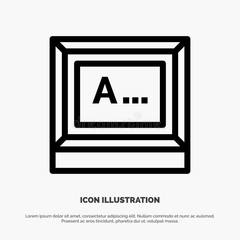 Screen, Typing, Text, Monitor Line Icon Vector vector illustration