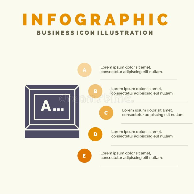 Screen, Typing, Text, Monitor Solid Icon Infographics 5 Steps Presentation Background vector illustration
