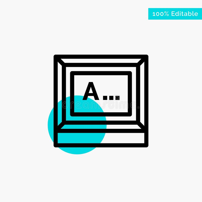 Screen, Typing, Text, Monitor turquoise highlight circle point Vector icon stock illustration