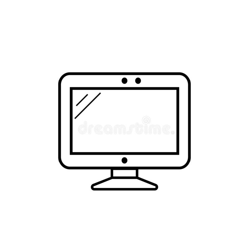 Monitor on white background. Screen vector icon. Monitor on white background stock illustration