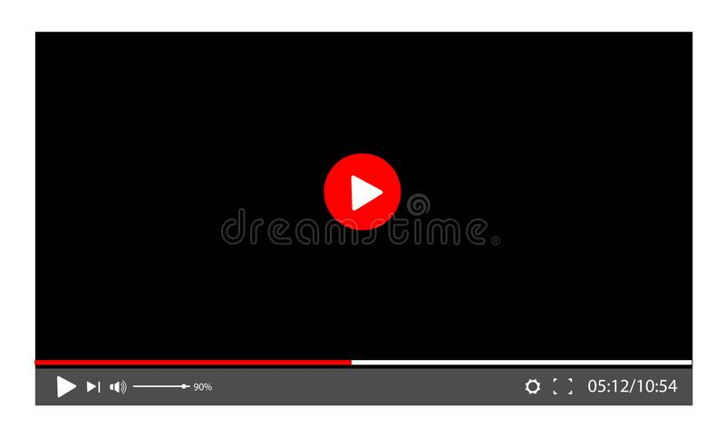 Screen video player. template for a web site or application. Play movie vector illustration