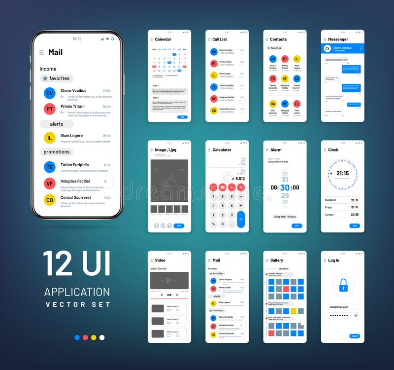 Screen wireframes. Mobile interface app wireframe kit. Ui vector templates vector illustration