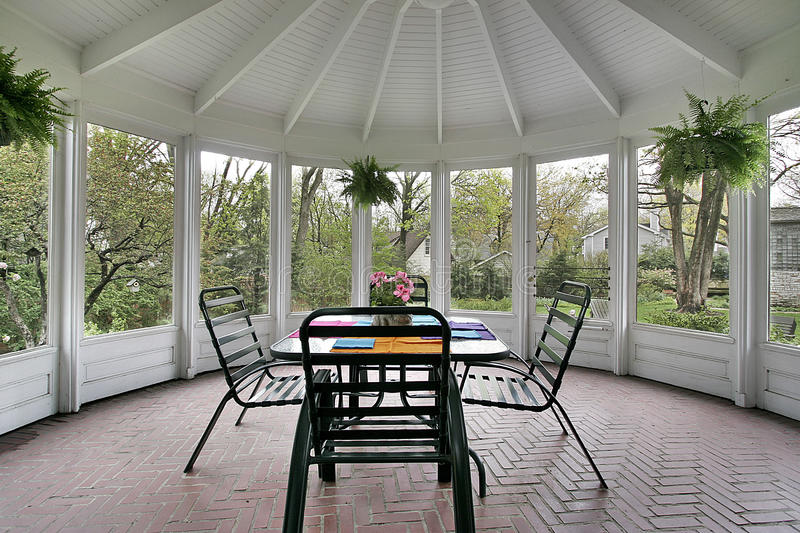 Screened in porch stock photo