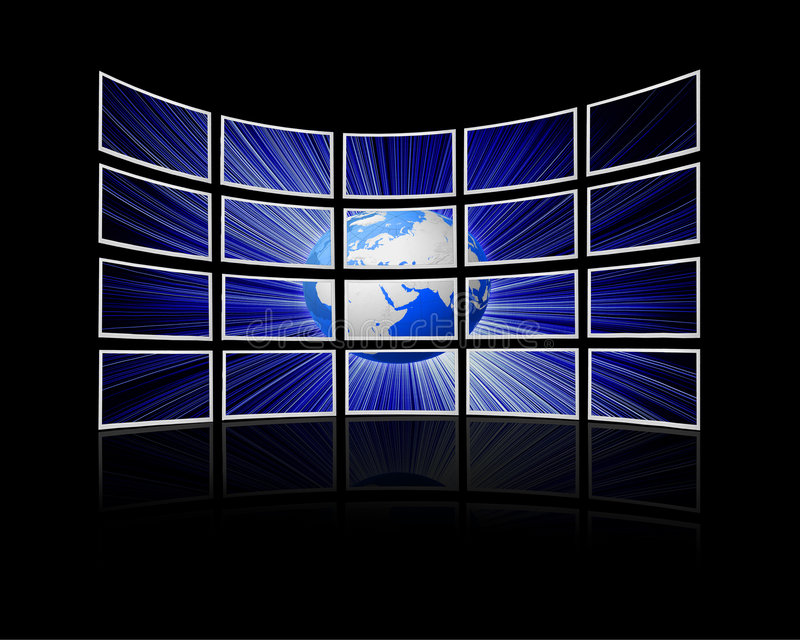 Screens. Room with a wall of tv screens royalty free illustration