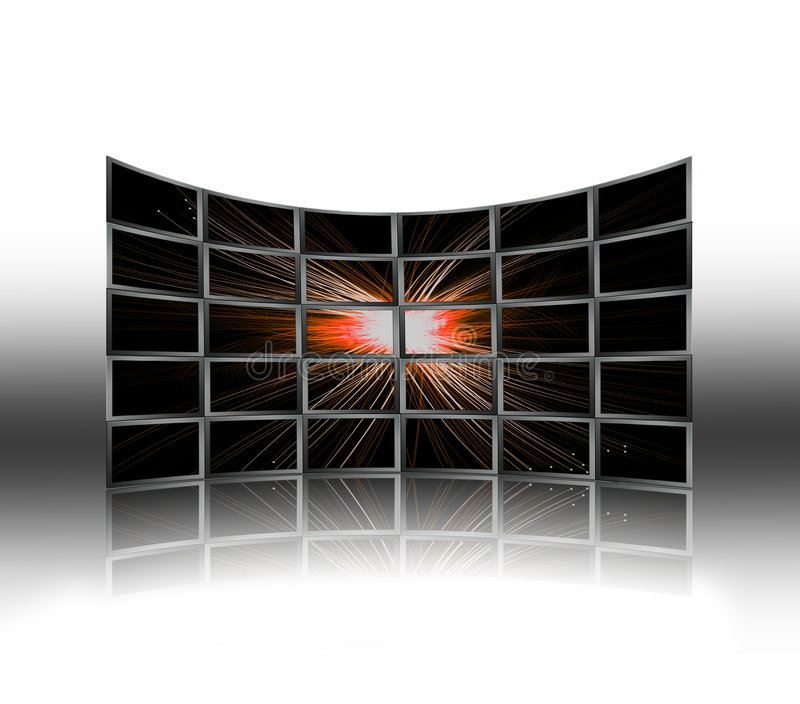Screens. Room with a wall of tv screens vector illustration