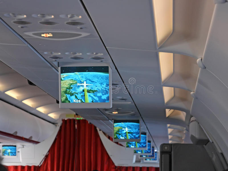 Screens In An Airplane Royalty Free Stock Photography