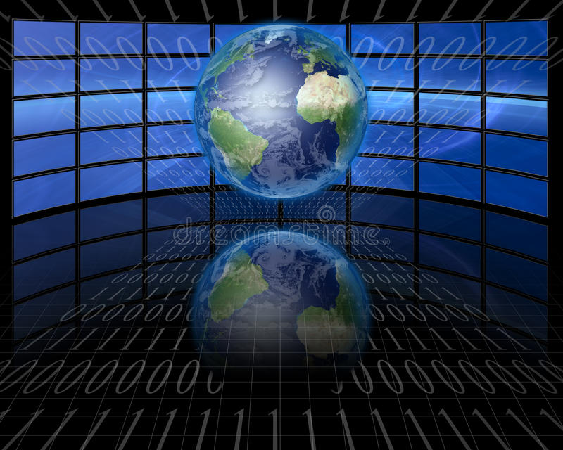Screens and binary with Earth stock illustration
