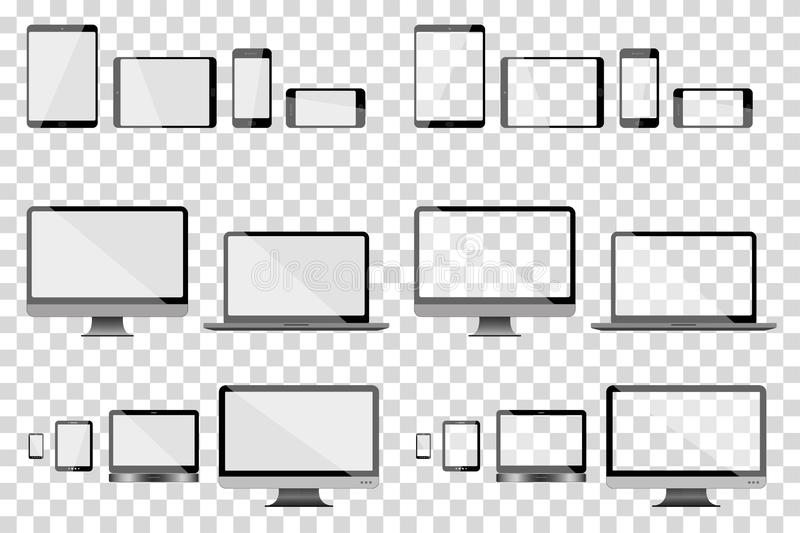 Set of vector devices: phone, smartphone, notebook, ipad, pc, computer, navigator. Set of different telecommunication devices in vector illustration: phone stock illustration