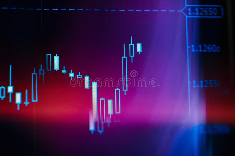 Screenshot of a financial chart with color effects stock image
