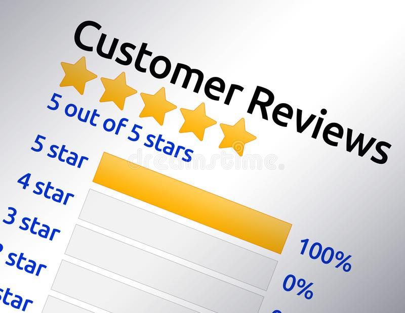 5 star rating review. Screenshot of 5 star customer or product review rating. Bright yellow stars with 100% score rating vector illustration