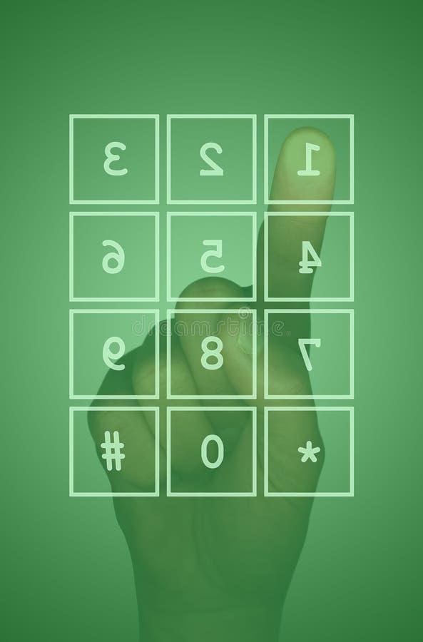 Screentastaturblock und -hand stockfotografie