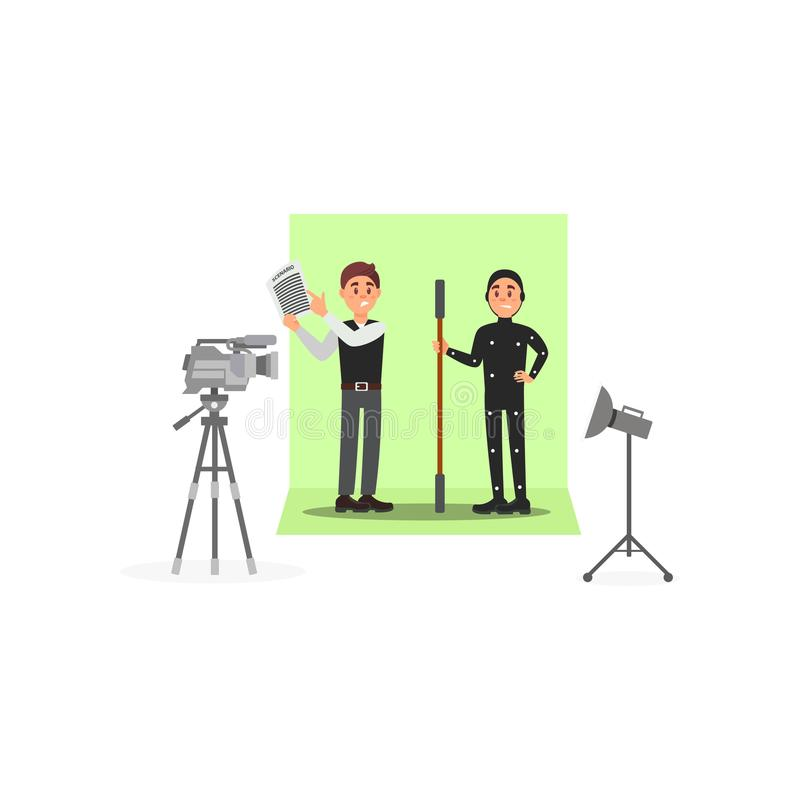 Screenwriter and actor working on the film, entertainment industry, movie making vector Illustration on a white. Screenwriter and actor working on the film vector illustration