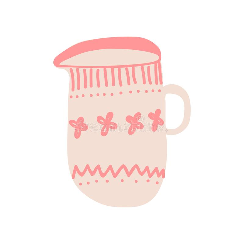 Scrematrice, brocca di latte per Cofee o tè, illustrazione ceramica sveglia di vettore delle pentole delle terrecotte illustrazione vettoriale