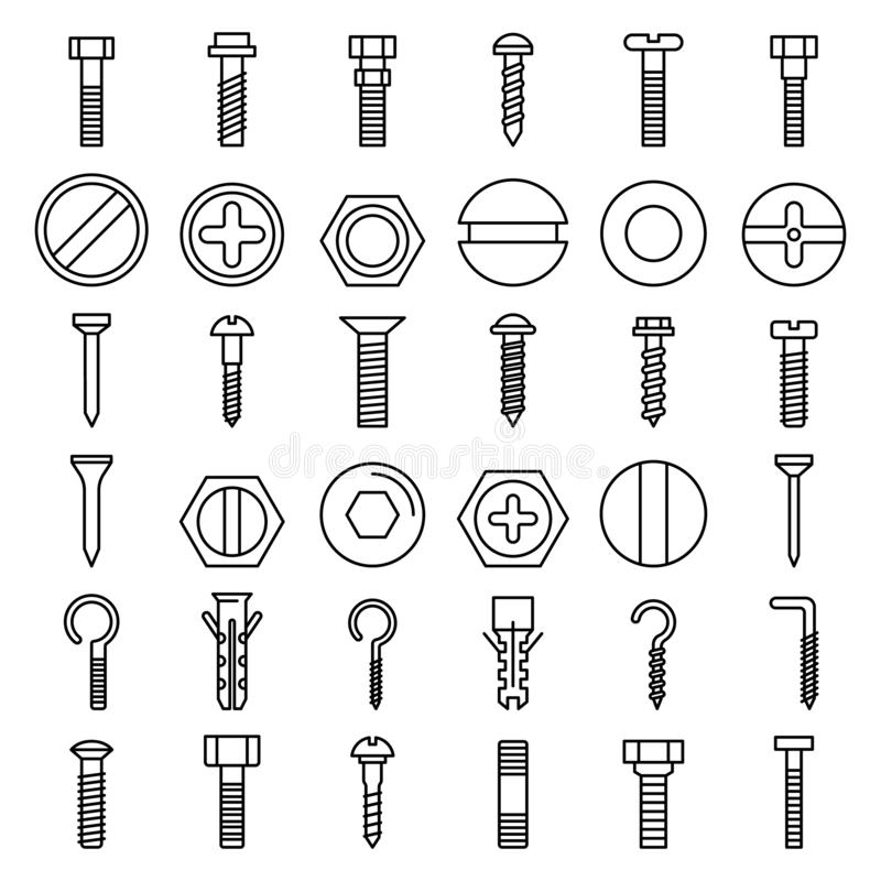 Free Screw-bolt Icons Set, Outline Style Stock Images - 145197564