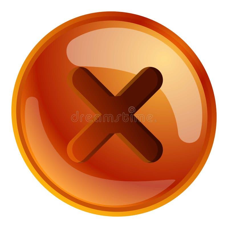 Screw cross cap icon, cartoon style. Screw cross cap icon. Cartoon of screw cross cap vector icon for web design isolated on white background stock illustration