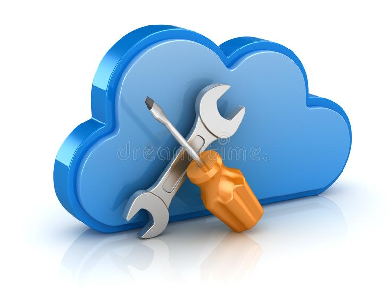 Driver and Wrench with Cloud vector illustration