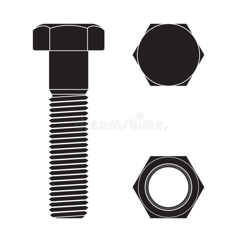Free Screw Head. Nut And Bolt. Black Icon Stock Photos - 173829643