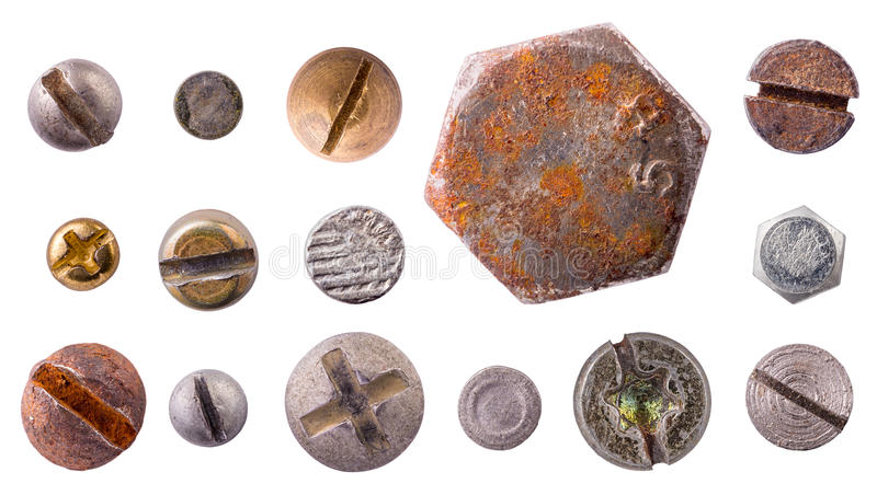 Heads set isolated. Rivet nail bolt heads collection set isolated on white background stock photography