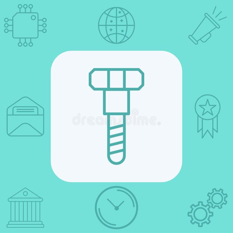Screw  icon sign symbol. Screw icon , filled flat sign, solid pictogram isolated on white. Symbol, logo illustration royalty free illustration