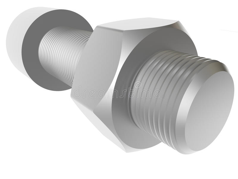 Download And nut. Render. stock photo. Image of white, work, bolt - 26315196