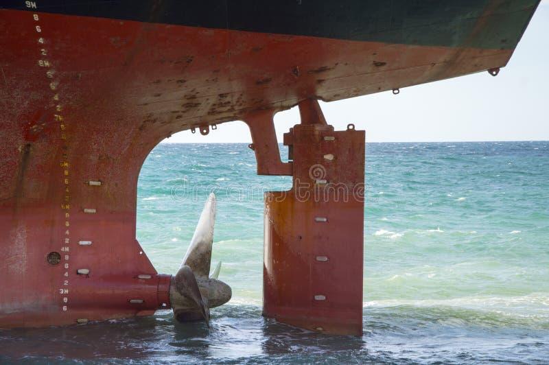 Screw ship stranded in Kabardinka Russia stock photo