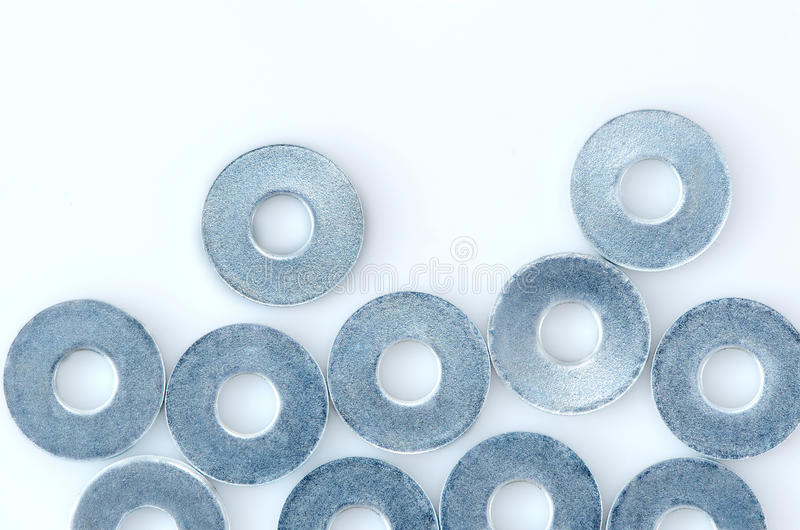 Washers. A lot of washers isolated on white background stock images