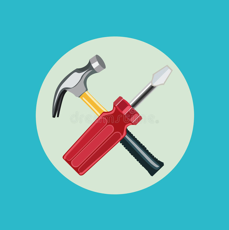 Free Screwdriver And Hammer Flat Design Stock Images - 43479714