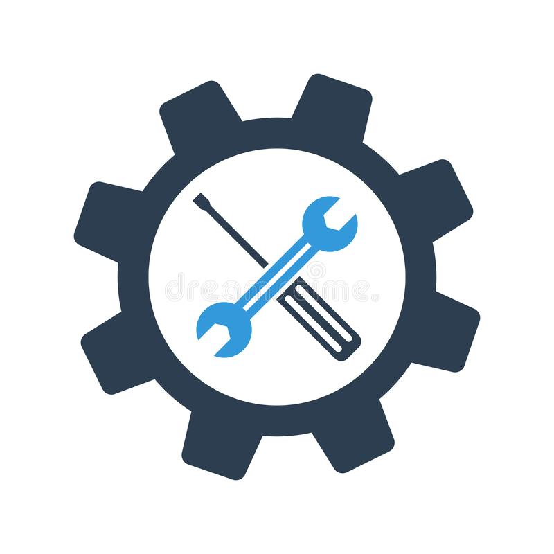 Free Screwdriver And Spanner. Service Icon. Wrench Key With Cog Wheel Gear Sign Royalty Free Stock Image - 144303286