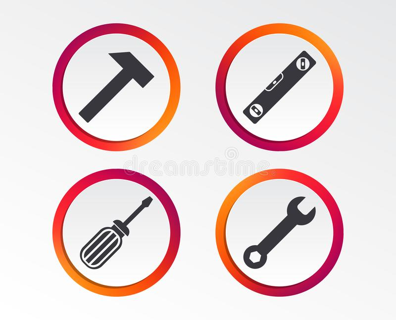 Screwdriver and bubble level, hammer. Screwdriver and wrench key tool icons. Bubble level and hammer sign symbols. Infographic design buttons. Circle templates royalty free illustration