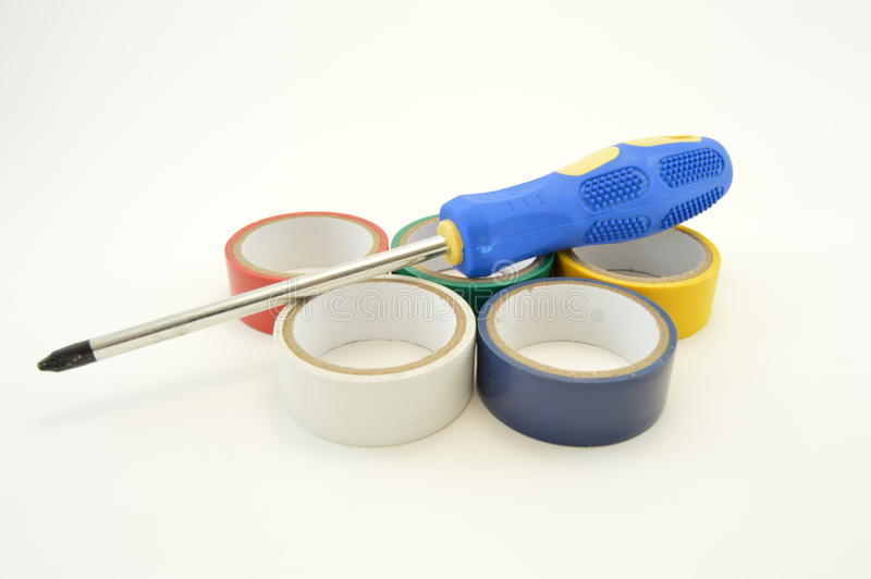 Screwdriver and duct tape royalty free stock images