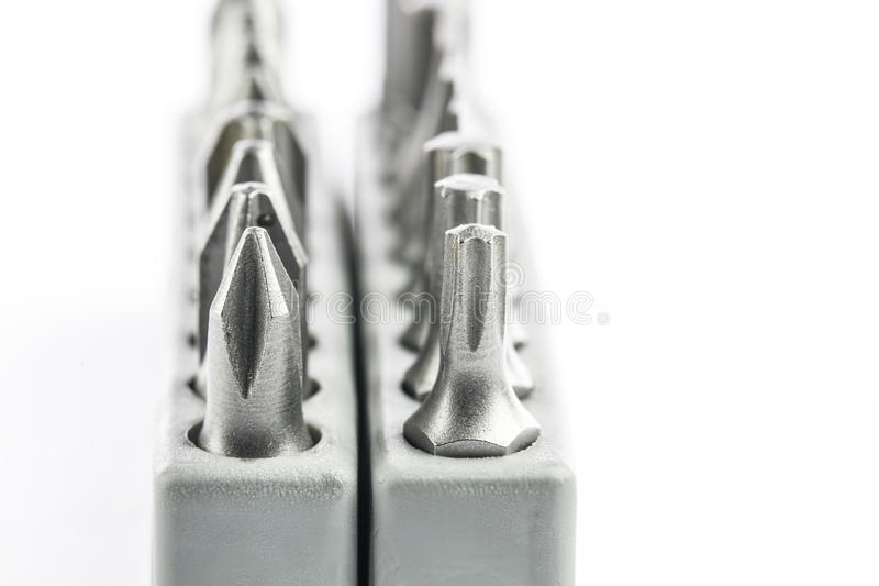 Screwdriver Heads III. Various type of screwdriver heads stock images