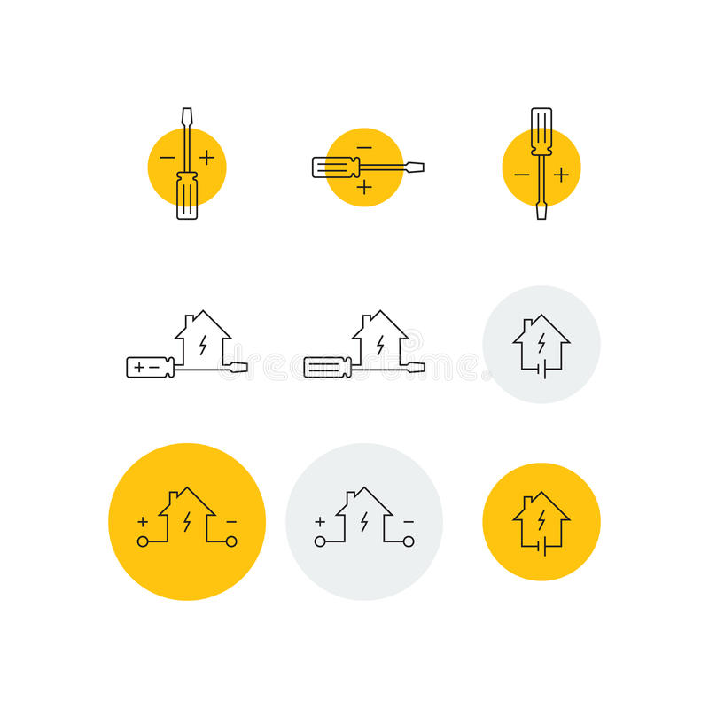 Screwdriver and home icons. Electrical service icons set, screwdriver, home electricity, vector illustration vector illustration
