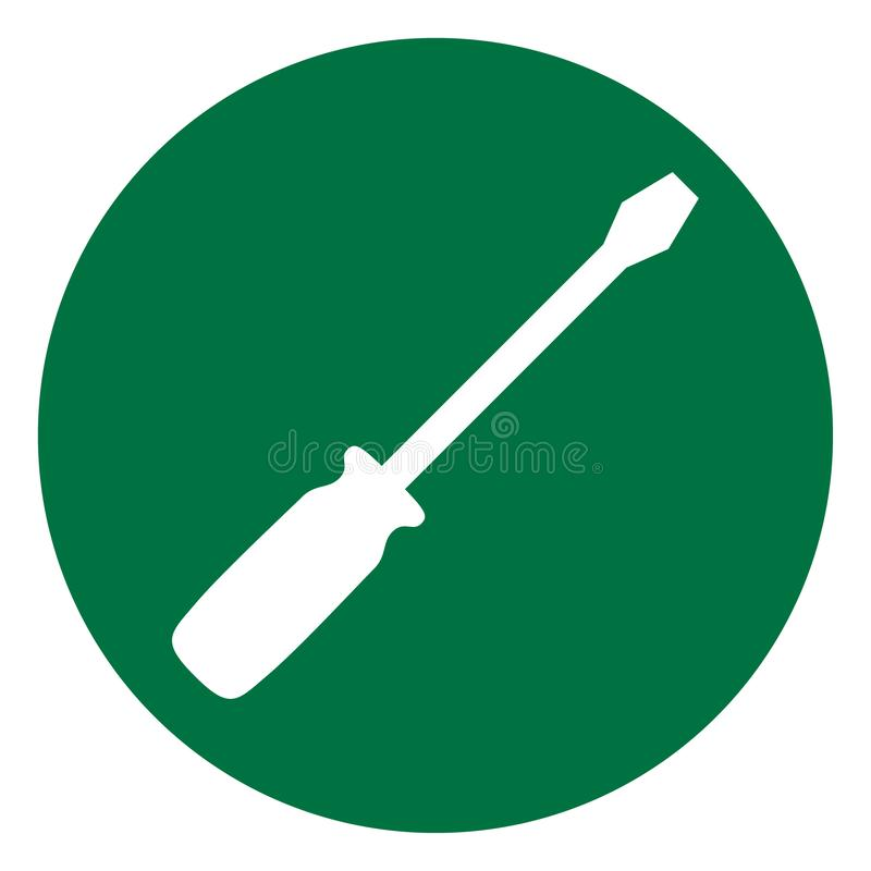 Screwdriver icon in flat style isolated on white background. Fix symbol for your web site design, logo, app, UI etc.  stock illustration