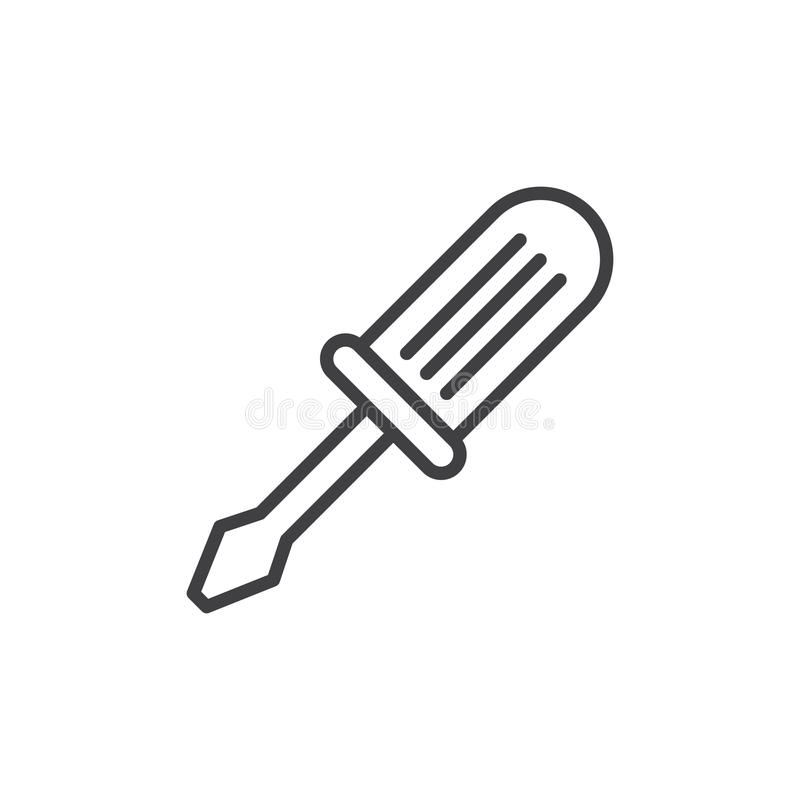 Screwdriver line icon, outline vector sign, linear style pictogram isolated on white stock illustration