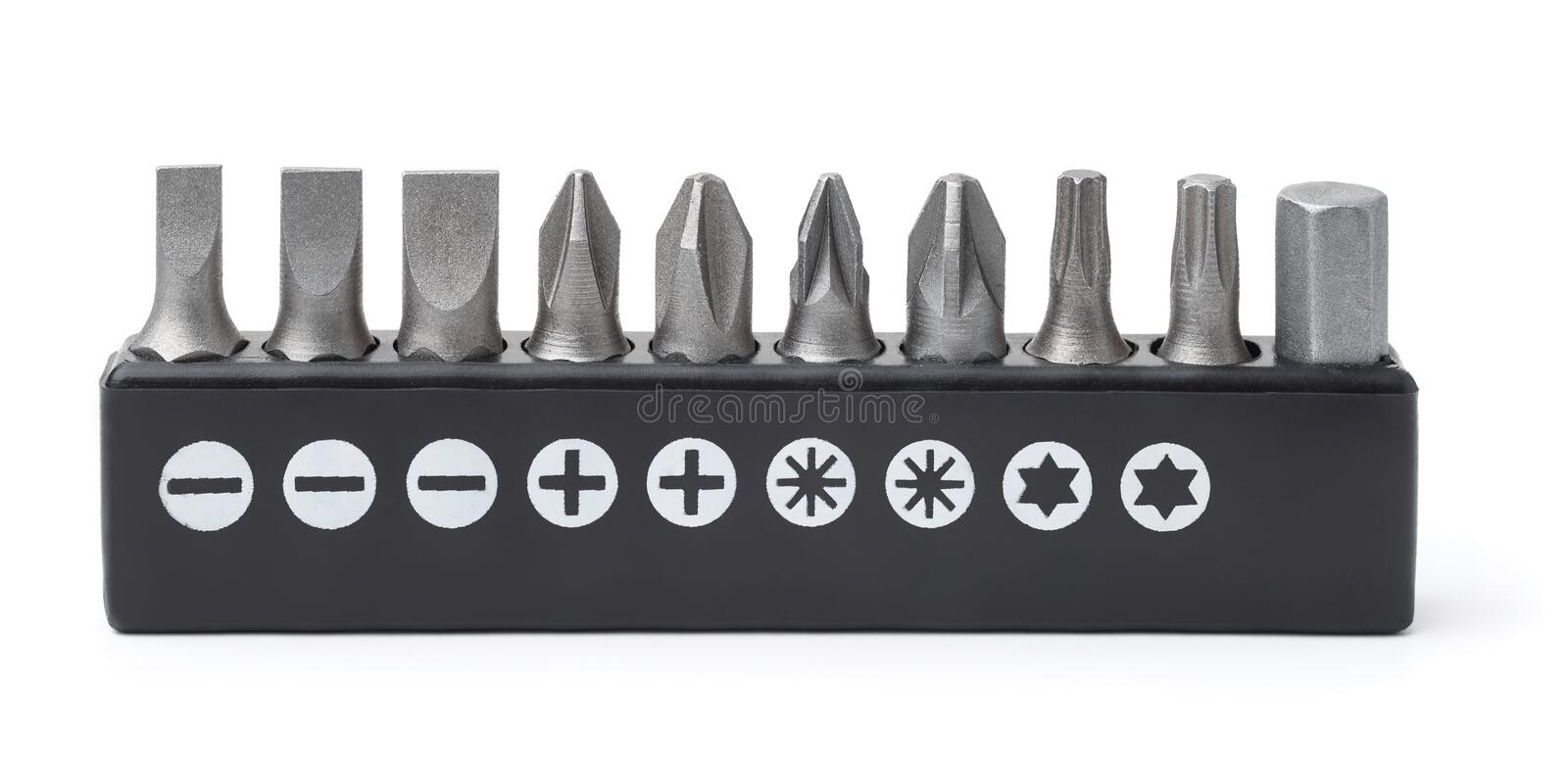 Screwdriver metal bits set. Front view of screwdriver metal bits set isolated on white stock images