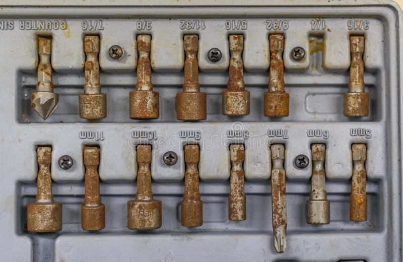Screwdriver set with rust. Screwdriver set without maintenance or used royalty free stock image