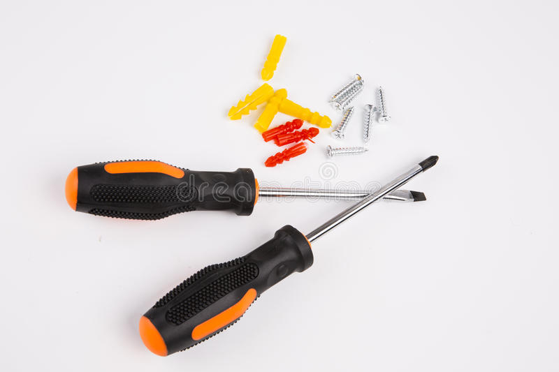 Screwdriver set. On white background stock photo