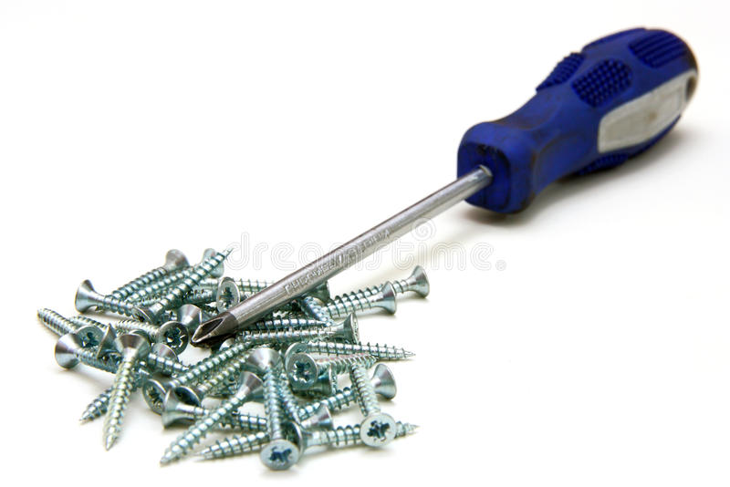 Download Screwdriver And Small Metal Screws Stock Photo - Image: 17724928