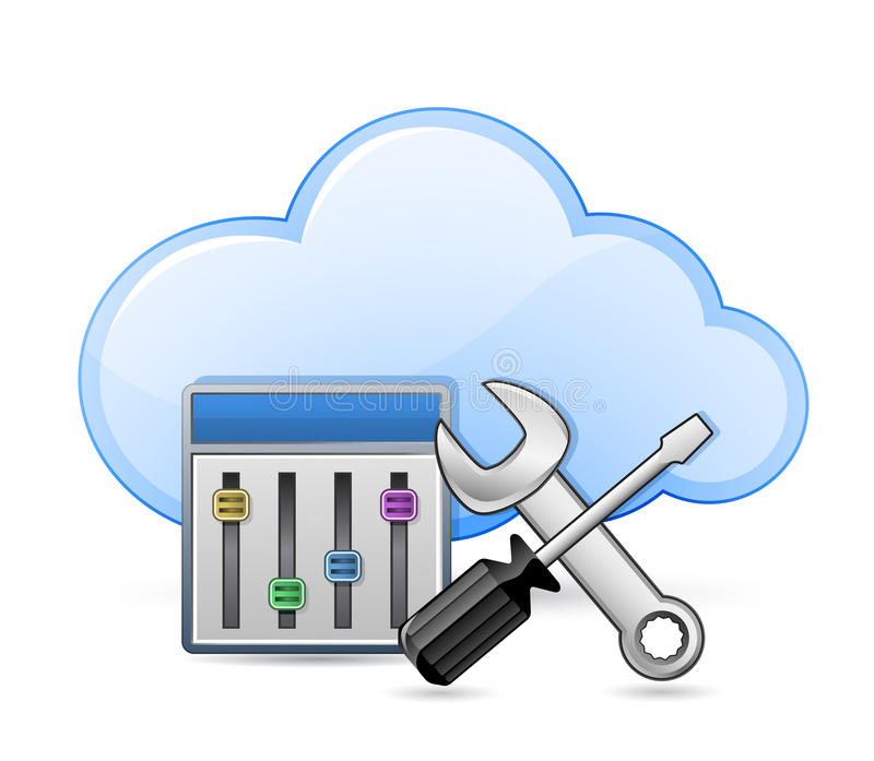 Download Screwdriver, Spanner And Cloud Stock Vector - Image: 25008382