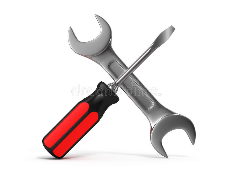 Screwdriver and wrench. On white background vector illustration