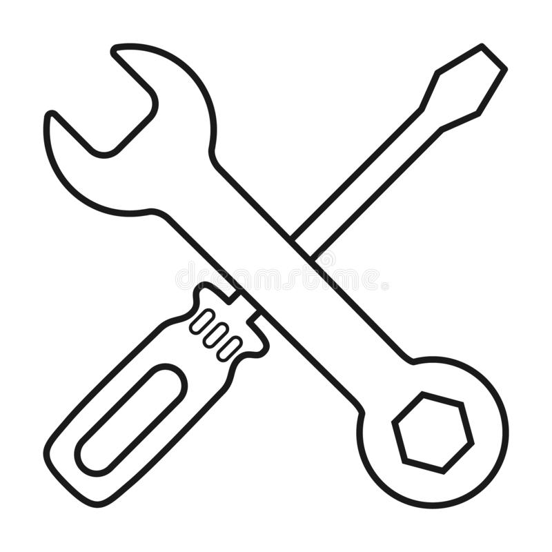 Screwdriver and wrench icon in flat style isolated on white background. Fix symbol for your web site design, logo, app, UI etc.  stock illustration