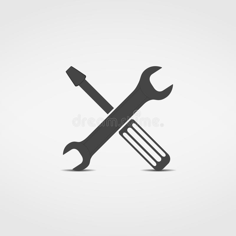 Screwdriver and Wrench Icon. Illustration of screwdriver and wrench icon royalty free illustration