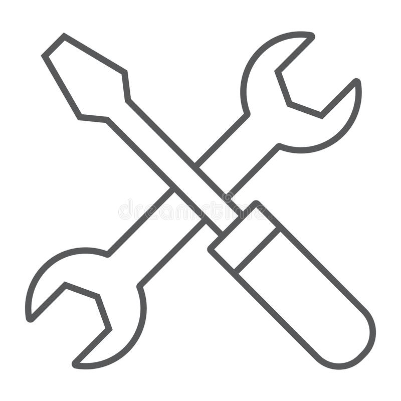 Screwdriver and wrench thin line icon, settings. And repair, service sign, vector graphics, a linear pattern on a white background, eps 10 vector illustration