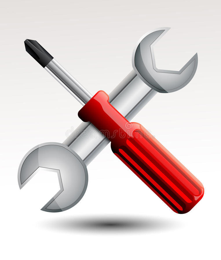 Screwdriver and wrench. Vector illustration background vector illustration