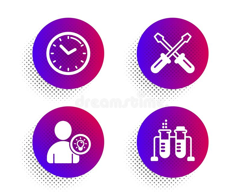 Screwdriverl, User idea and Time icons set. Chemistry beaker sign. Repair tool, Light bulb, Clock. Vector. Screwdriverl, User idea and Time icons simple set stock illustration