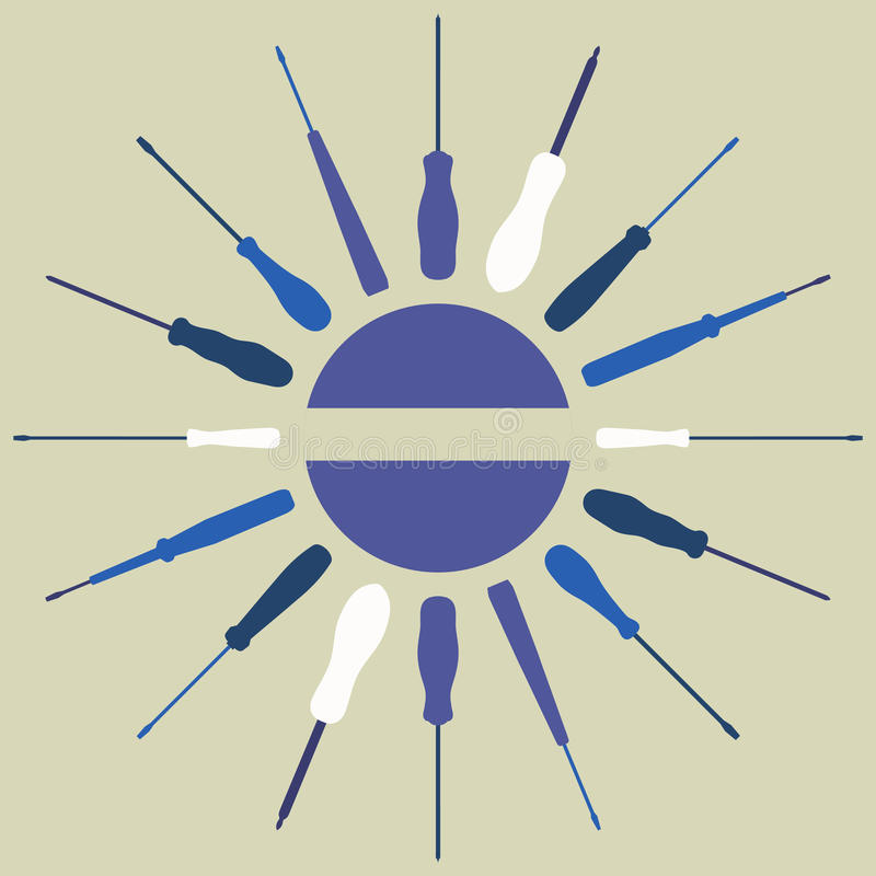 Download Screwdrivers Silhouettes Round Frame. Royalty Free Stock Photo - Image: 23788015