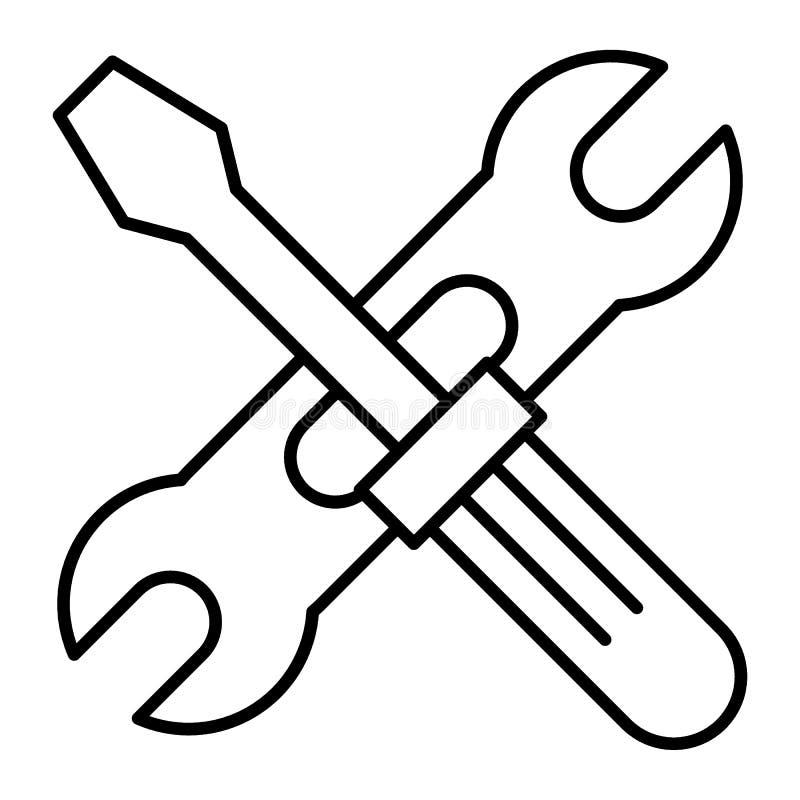 Screwdriwer och tunn linje symbol för justerbar skiftnyckel Reparationsvektorillustration som isoleras på vit Skruvmejsel och skr royaltyfri illustrationer
