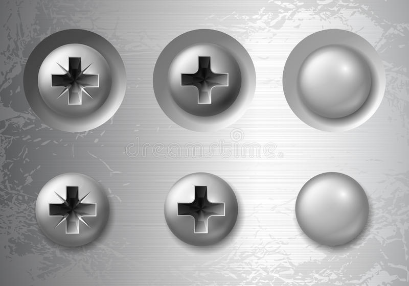 Screws, bolts and rivets. Vector set of screws, bolts and rivets stock illustration