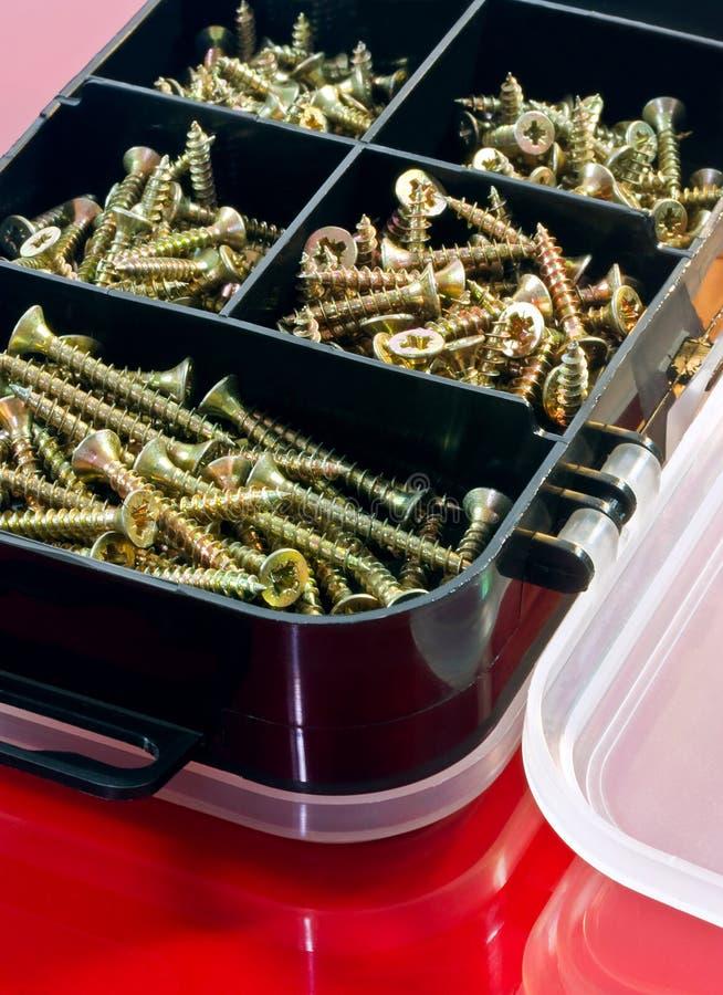 Download Screws in box stock photo. Image of metal, closeup, fixings - 26055396