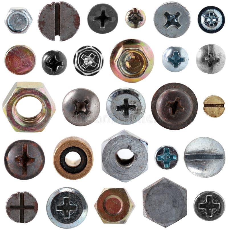 Screws head nut bolt collection set stock photo